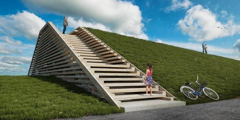 Impressie van het nieuwe uitkijkpunt bij Lauwersoog